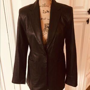 DKNY Black Soft Leather Elegant Blazer Jacket